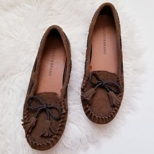 Lucky brand leather tassel moccasins
